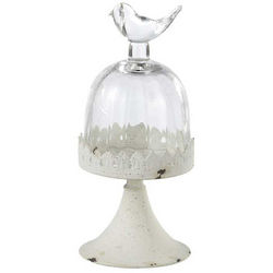 Glass Dome with Bird Topper on an Iron Pedestal