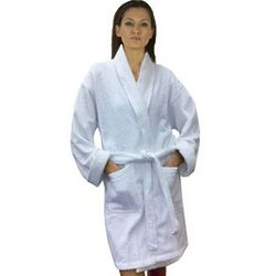 Women's Solid Cotton Terry Loop Short Bathrobe