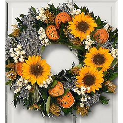 Sunflower and Lavender Wreath