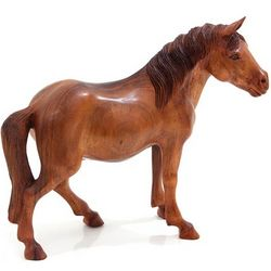 Shy Horse Wood Sculpture