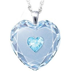 Crystal Heart Pendant Necklace with Birthstone for Daughters
