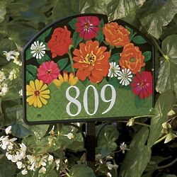 Garden Gate Floral Sign with House Numbers