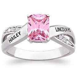 Celebrium Women's Emerald-Cut Class Ring with Diamond Accents