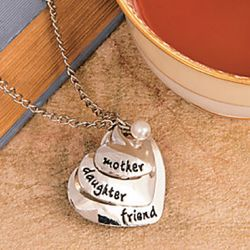 Mother, Daughter, Friend Silver Heart Necklace