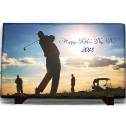 Slate Plaque with Personalized Full Color Golf Photo