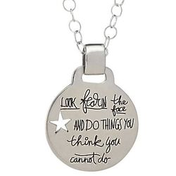 'Look Fear in the Face' Eleanor Roosevelt Quote Necklace
