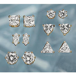 7 Pair Cubic Zirconia Stud Earring Set