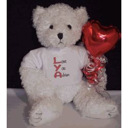 Love You Teddy Bear with Red Balloon