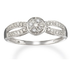 Round Diamond Split Band Promise Ring in 14k White Gold
