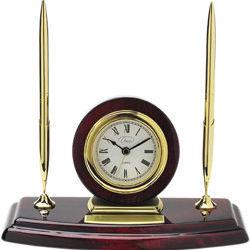 Personalized Mahagony Base Desk Clock with Pens