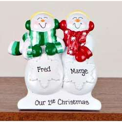 Personalized Snowman Couple Table Decoration