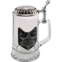 Engraved Glass Law Officer Stein