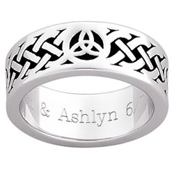 Men's Antiqued Celtic Weave and Trinity Knot Engraved Band