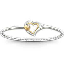 Heart of Teaching Engraved Bangle Bracelet
