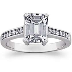 Sterling Silver Emerald-Cut Cubic Zirconia Engagement Ring