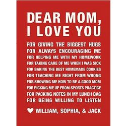 Dear Mom Personalized Red Canvas Art