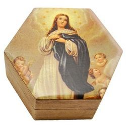 Our Lady of the Angels Wooden Rosary Box