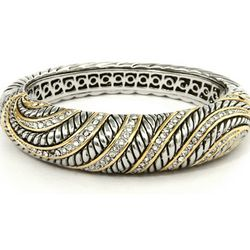 Bold and Beautiful Two-Tone Cubic Zirconia Bangle Bracelet
