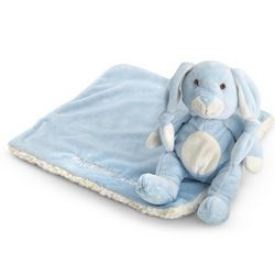 Embroidered Blue Stuffed Bunny and Blanket