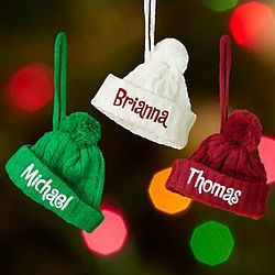 Personalized Cable Knit Hat Ornament
