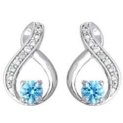 Sterling Silver Infinity Birthstone Earrings