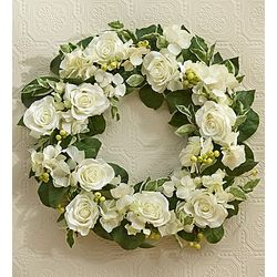 Silk White Rose Wreath
