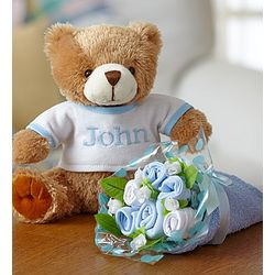Personalized Teddy Bear and Layette Bouquet
