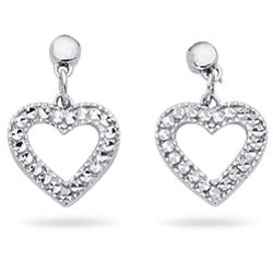 Royal Pave Heart Earrings in 14K White Gold