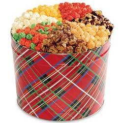 Holiday Plaid 7-Way Popcorn Gift Tin