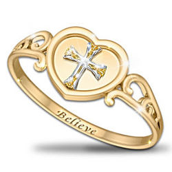 "Thomas Kinkade Religious Diamond Ring ""Believe"""