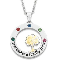 """Love Makes a Family Grow"" Birthstone Mothers Pendant"