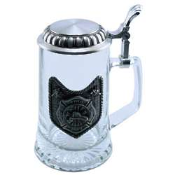 Engraved Glass Fire Fighter Stein