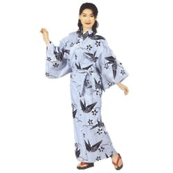 Women's White Yukata Blue Crane Cotton Robe
