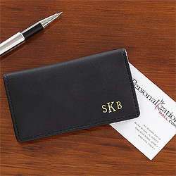 Personalized Black Leather Business Card Case with Monogram