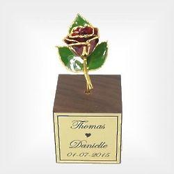 Mini 24 Karat Gold Rose in Couple's Stand