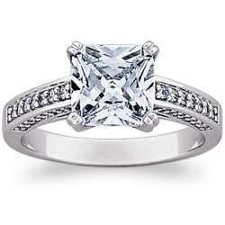 Sterling Silver Princess-Cut Cubic Zirconia Engagement Ring
