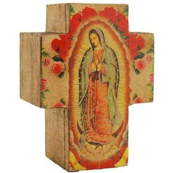 Our Lady of Guadalupe Small Wooden Cross Rosary Box