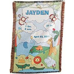 Baby Information Personalized Jungle Throw