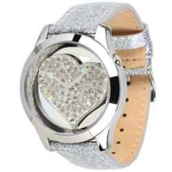 Silver-Tone Crystal Heart Watch