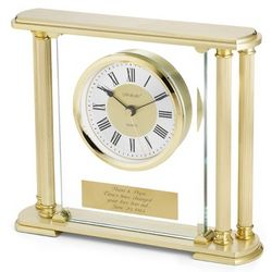 Personalized Gold Pillar Clock
