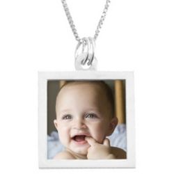 Sterling Silver Square Photo Necklace