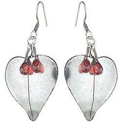Garnet Briolette Earrings in Sterling Silver