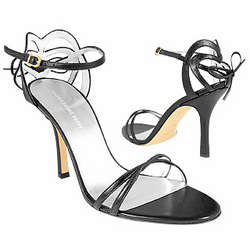 Black Strappy High-heel Leather Sandals