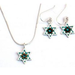 Sterling Silver Star of David Necklace & Earrings Set