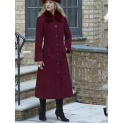 Faux Fur-Trimmed Lambswool Blend Coat