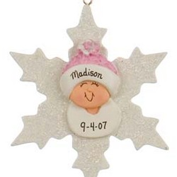 Baby Girl on Snowflake Personalized Christmas Ornament