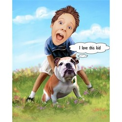 Kid's Best Friend Caricature from Photos