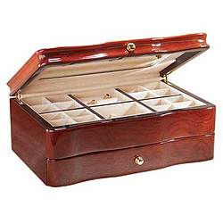 Solid Teakwood Jewelry Box with Brown Stain