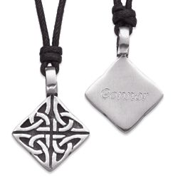 Engraved Pewter Celtic Knot Necklace