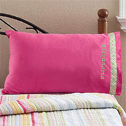 Personalized Microfleece Pink Pillowcase